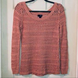 A.N.A. Pink Crochet Sweater